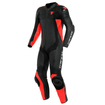 Dainese Assen 2 1 Pce Race Leather Suit Black/Fluo Red